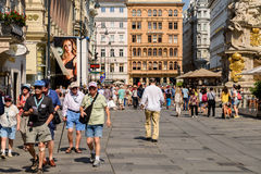 Tourists Visiting And Shopping On Graben Street In Vienna Stock Photography