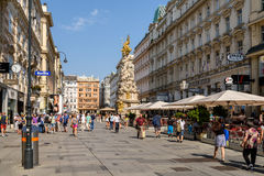Tourists Visiting And Shopping On Graben Street In Vienna. VIENNA, AUSTRIA - AUGUST 10, 2015: Tourists Visiting And Shopping On Graben Street, One Of The Most Stock Photography