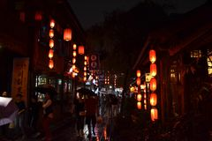 Tourists visiting shops and stores around the scenic Jinli Ancie Stock Photo
