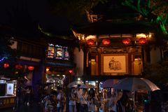Tourists visiting shops and stores around the scenic Jinli Ancie Stock Photography