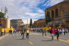 Tourists visiting the sights in a historical part of Rome Royalty Free Stock Photo