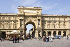 Tourists visiting the sights on the Piazza San Giovanni and del Royalty Free Stock Images