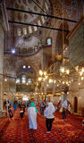 The tourists visiting the Sultan Ahmed Mosque  (Blue Mosque), Is Royalty Free Stock Photos