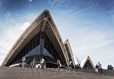 Tourists visiting sydney opera house in australia on sunny day Royalty Free Stock Photography