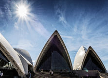 Tourists visiting sydney opera house in australia on sunny day Stock Photos