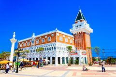 Tourists visiting and taking picture with new building of Venezia Stock Image