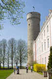 Tourists visiting Tall Hermann. Tourists visiting Pikk Hermann or Tall Hermann (German: Langer Hermann) is a tower of the Toompea Castle, on Toompea hill in Stock Image