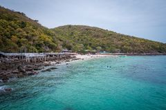 Landscape view of Tawaen beach at Koh Larn island, Pattaya, Thailand. stock images