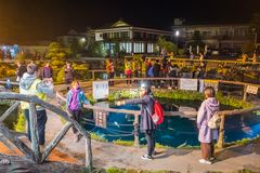 Oshino Hakkai village at night in Japan. royalty free stock image
