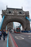 Tourists visiting Tower Bridge on River Thames Royalty Free Stock Photo