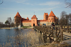 Tourists visiting the Trakai medieval castle Stock Photography
