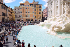 Tourists visiting the Trevi Fountain  in Rome Royalty Free Stock Image