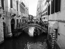 Tourists visiting Venice in black and white Stock Images
