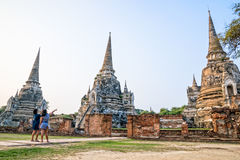 Tourists visiting at Wat Phra Sri Sanphet Royalty Free Stock Images