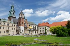 Tourists visiting Wawel Royal Castle and Cathedral in Krakow, Poland royalty free stock image