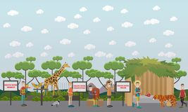 Tourists visiting zoo vector illustration in flat style. Vector illustration of tourists getting photo with exotic animals and birds while visiting zoo. Flat Royalty Free Stock Photography