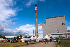 Tourists & visitors of ecologycal festival at the Nuclear Power Plant Stock Image