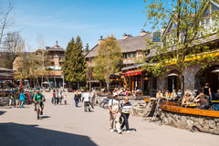 Tourists and visitors at the Whistler Ski Resort, Canada. Stock Photography