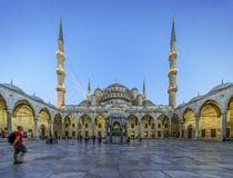 Tourists visits Blue mosque in Istanbul, Turkey. Istanbul, Turkey - July 1th 2014: Tourists visits Blue mosque in Istanbul on July 1th 2014.Blue Mosque is one of Stock Images