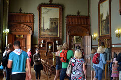 Tourists in Vorontsovsky castle. In Crimea Royalty Free Stock Photo