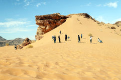 Tourists in Wadi Rum desert in Jordan Stock Image