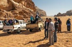 Tourists in Wadi Rum desert in Jordan Stock Photos