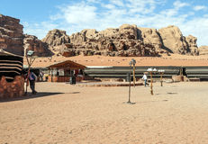 Tourists in Wadi Rum desert in Jordan Stock Image