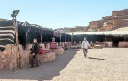 Tourists in Wadi Rum desert in Jordan Royalty Free Stock Image