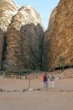 Tourists in Wadi Rum desert in Jordan Stock Photography