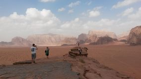 Tourists in Wadi Rum Royalty Free Stock Photography