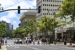 Tourists in waikiki hawaii Royalty Free Stock Image