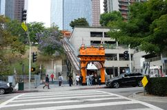 Tourists wait at Angels Flight a landmark 2 ft 6 in narrow gauge funicular railway in the Bunker Hill district of Downtown Los. LOS ANGELES - CALIFORNIA: JUNE 18 stock photo