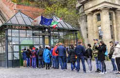 Tourists wait in line to buy tickets for the funicular. Budapest, Hungary. Stock Images