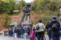 Tourists wait in line to buy tickets for the funicular. Budapest, Hungary. Stock Photos