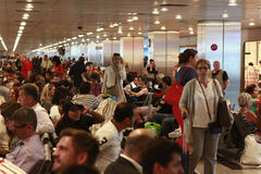 Tourists waiting delayed flight Istanbul, Ataturk Airport Stock Images