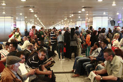 Tourists waiting delayed flight Istanbul, Ataturk Airport Royalty Free Stock Images