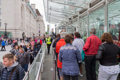 Tourists in waiting queue for visiting London Eye, London Englan Royalty Free Stock Photo