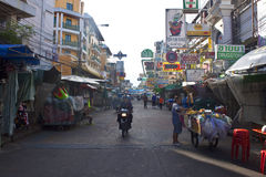 Tourists walk along  Khao San Road Royalty Free Stock Photography