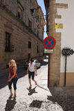 Tourists walk along the monumental area of Ubeda Stock Images
