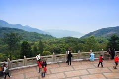 Tourists walk alongside the Big Buddha panorama point Royalty Free Stock Images