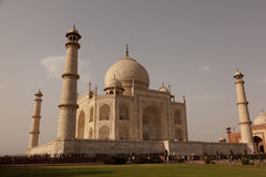 Tourists walk around base Taj Mahal Agra India Stock Image
