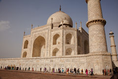 Tourists walk around base Taj Mahal Agra India Royalty Free Stock Photography