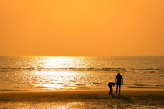 Tourists walk on the beach Royalty Free Stock Photo
