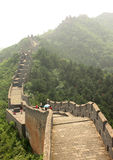 Tourists walk on The Great Wall of China Royalty Free Stock Photo