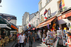 Tourists walk and souvenir store on Paris Royalty Free Stock Photography