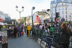 Tourists walk and souvenir store on Paris Stock Photography