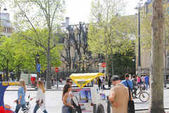 Tourists walk and souvenir store on Paris Stock Photos