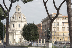 Tourists walk on the square and near the monument imreror Trajan Royalty Free Stock Photos