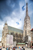 Tourists walk on the Stephansplatz a main square in old city. St  Stephens Cathedral in Vienna, Austria. Stock Photography
