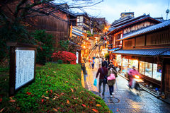 Tourists walk on a street leading to Kiyomizu Temple Stock Photography